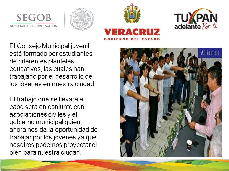 El Consejo Municipal juvenil está formado por estudiantes de diferentes planteles educativos, las cuales han trabajado por el desarrollo de los jóvenes en nuestra ciudad.