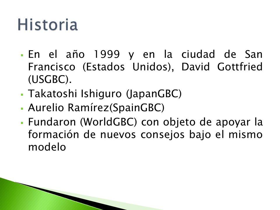 En el año 1999 y en la ciudad de San Francisco (Estados Unidos), David Gottfried (USGBC). Takatoshi Ishiguro (JapanGBC) Aurelio Ramírez(SpainGBC) Fund