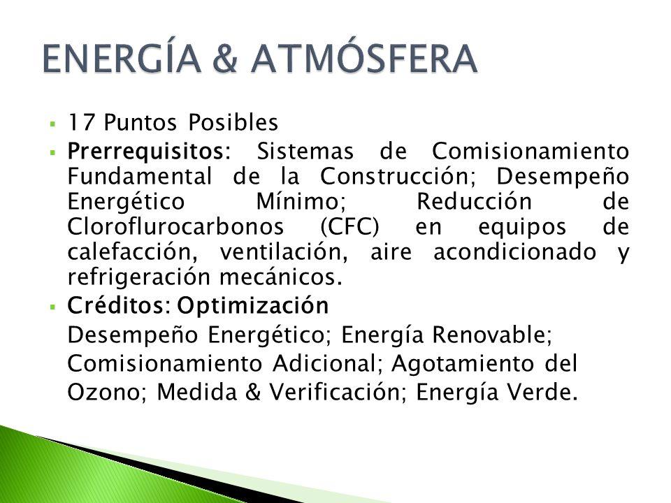 17 Puntos Posibles Prerrequisitos: Sistemas de Comisionamiento Fundamental de la Construcción; Desempeño Energético Mínimo; Reducción de Cloroflurocarbonos (CFC) en equipos de calefacción, ventilación, aire acondicionado y refrigeración mecánicos.