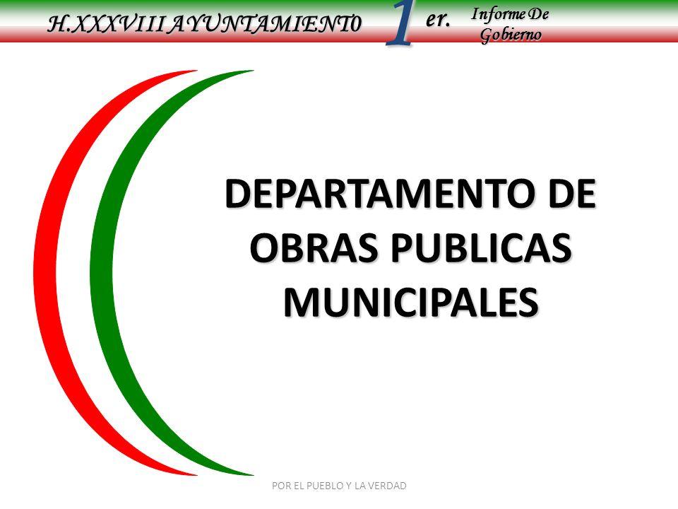 Informe De Gobierno Informe De Gobierno er.1 OBRAS PUBLICAS MUNICIPALES ESTE DEPARTAMENTO SE ENCARGA DE LA ELABORACION, SUPUERVISION, CONTROL Y EJECUACION DE LAS OBRAS DE INFRAESTRUCTURA MUNICIPAL ASI COMO: DRENAJE AGUA POTABLE URBANIZACION ELECTRIFICACION POR OTRA PARTE TIENE LA FUNCION DE REHABILITAR CAMINOS SACACOSECHAS, APERTURA DE CAMINOS Y EL MEJORAMIENTO DE CALLES TANTO EN LAS LOCALIDADES COMO EN LA CABECERA MUNICIPAL POR EL PUEBLO Y LA VERDAD H.XXXVIII AYUNTAMIENT0