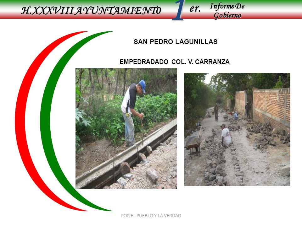 Informe De Gobierno Informe De Gobierno er.1 SAN PEDRO LAGUNILLAS MONTO: 165,033.00 POR EL PUEBLO Y LA VERDAD H.XXXVIII AYUNTAMIENT0 EMPEDRADADO COL.