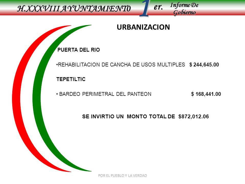 Informe De Gobierno Informe De Gobierno er.1 URBANIZACION PUERTA DEL RIO REHABILITACION DE CANCHA DE USOS MULTIPLES $ 244,645.00 TEPETILTIC BARDEO PERIMETRAL DEL PANTEON $ 168,441.00 SE INVIRTIO UN MONTO TOTAL DE $872,012.06 POR EL PUEBLO Y LA VERDAD H.XXXVIII AYUNTAMIENT0