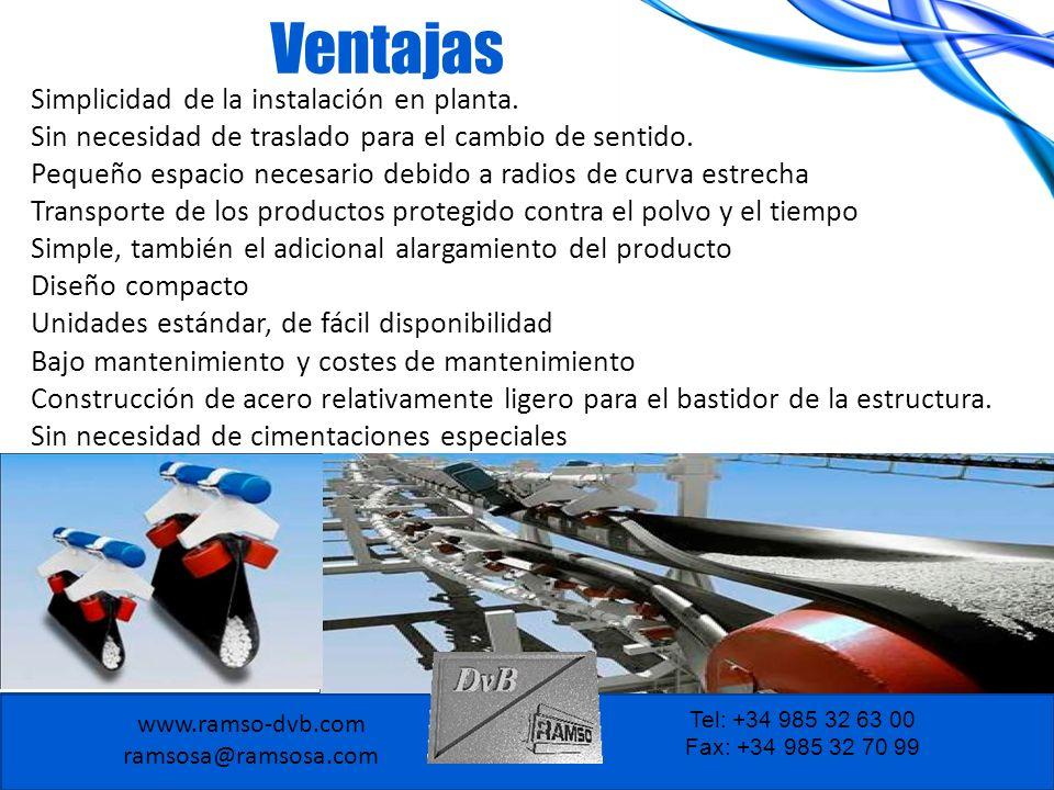 www.ramso-dvb.com ramsosa@ramsosa.com Tel: +34 985 32 63 00 Fax: +34 985 32 70 99 Ventajas Simplicidad de la instalación en planta. Sin necesidad de t