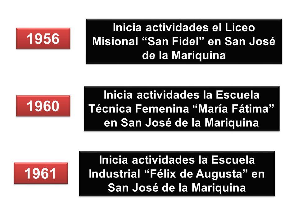1956 Inicia actividades el Liceo Misional San Fidel en San José de la Mariquina 1960 1961 Inicia actividades la Escuela Técnica Femenina María Fátima en San José de la Mariquina Inicia actividades la Escuela Industrial Félix de Augusta en San José de la Mariquina