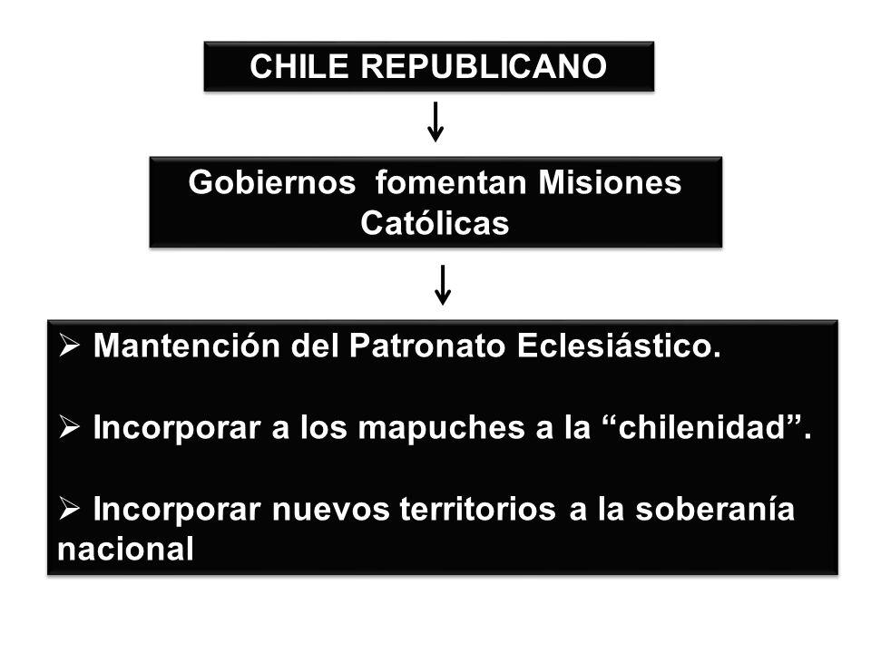 Gobiernos fomentan Misiones Católicas CHILE REPUBLICANO Mantención del Patronato Eclesiástico.