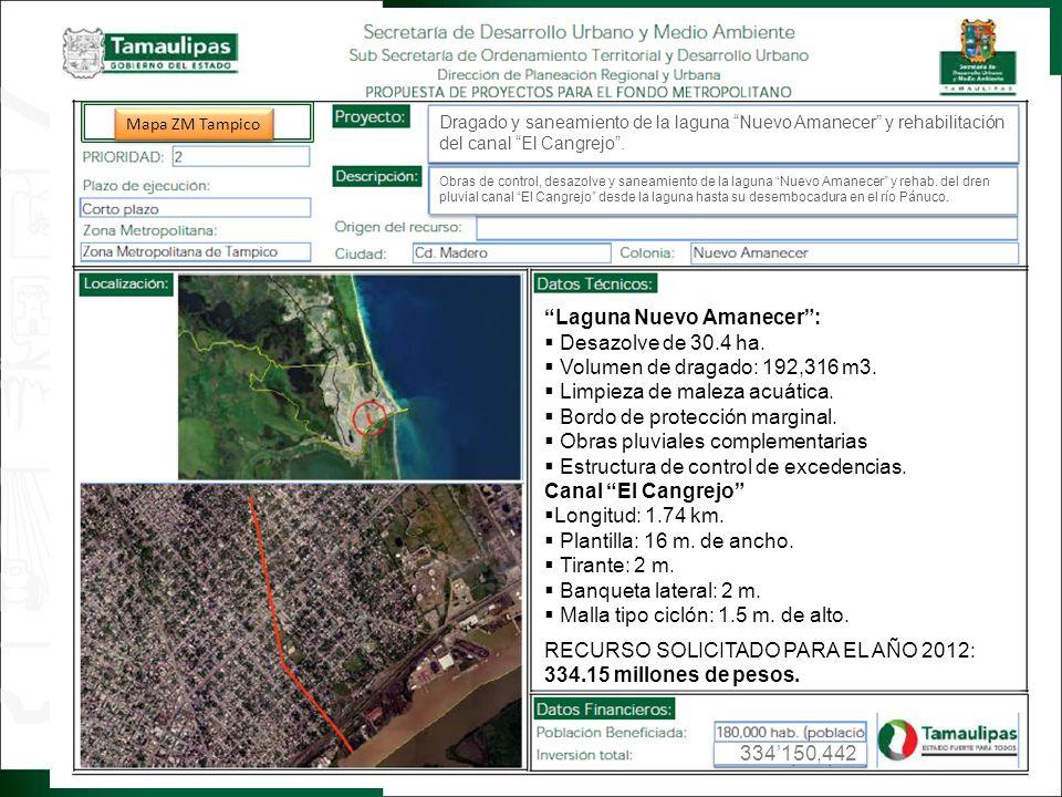 Regresar Laguna Nuevo Amanecer: Desazolve de 30.4 ha. Volumen de dragado: 192,316 m3. Limpieza de maleza acuática. Bordo de protección marginal. Obras