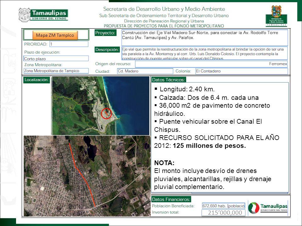 Regresar Longitud: 2.40 km. Calzada: Dos de 6.4 m. cada una 36,000 m2 de pavimento de concreto hidráulico. Puente vehicular sobre el Canal El Chispus.