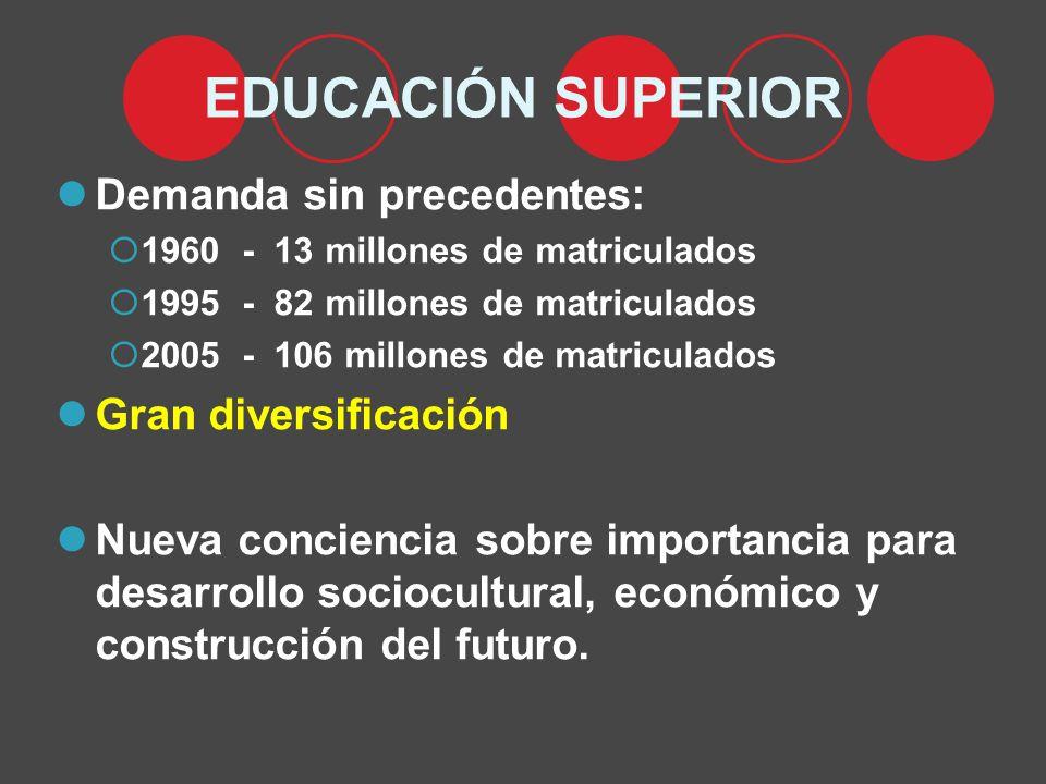 EDUCACIÓN SUPERIOR Demanda sin precedentes: 1960 - 13 millones de matriculados 1995 - 82 millones de matriculados 2005 - 106 millones de matriculados Gran diversificación Nueva conciencia sobre importancia para desarrollo sociocultural, económico y construcción del futuro.