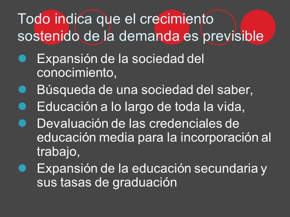 Todo indica que el crecimiento sostenido de la demanda es previsible Expansión de la sociedad del conocimiento, Búsqueda de una sociedad del saber, Educación a lo largo de toda la vida, Devaluación de las credenciales de educación media para la incorporación al trabajo, Expansión de la educación secundaria y sus tasas de graduación