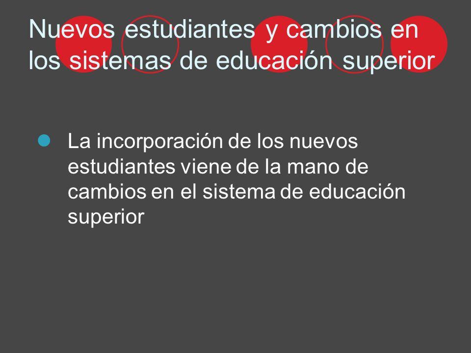 Nuevos estudiantes y cambios en los sistemas de educación superior La incorporación de los nuevos estudiantes viene de la mano de cambios en el sistema de educación superior