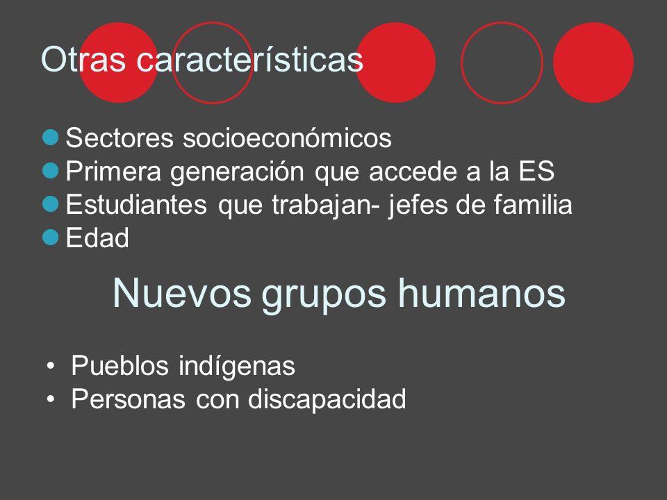 Otras características Sectores socioeconómicos Primera generación que accede a la ES Estudiantes que trabajan- jefes de familia Edad Nuevos grupos humanos Pueblos indígenas Personas con discapacidad