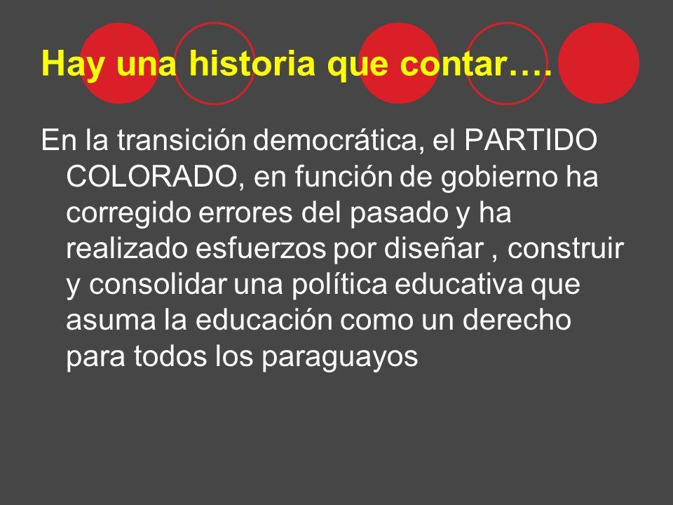 Hay una historia que contar…. En la transición democrática, el PARTIDO COLORADO, en función de gobierno ha corregido errores del pasado y ha realizado