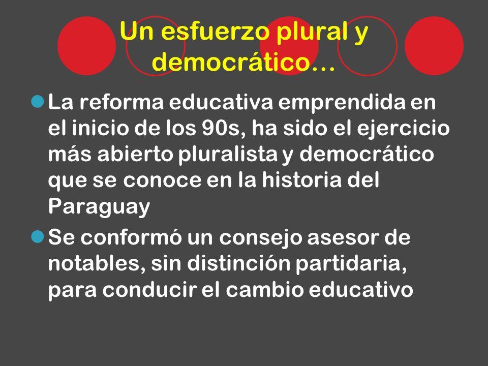Un esfuerzo plural y democrático… La reforma educativa emprendida en el inicio de los 90s, ha sido el ejercicio más abierto pluralista y democrático q