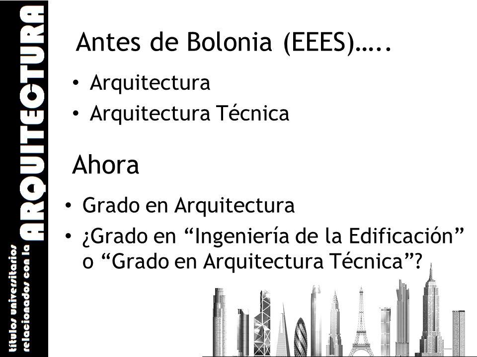 Antes de Bolonia (EEES)….. Arquitectura Arquitectura Técnica Ahora Grado en Arquitectura ¿Grado en Ingeniería de la Edificación o Grado en Arquitectur
