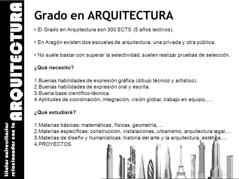 Grado en ARQUITECTURA El Grado en Arquitectura son 300 ECTS (5 años lectivos). En Aragón existen dos escuelas de arquitectura, una privada y otra públ
