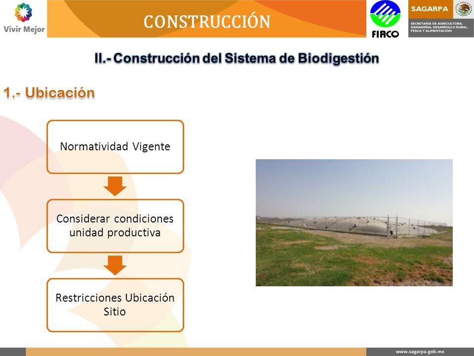 CONSTRUCCIÓN Normatividad Vigente Considerar condiciones unidad productiva Restricciones Ubicación Sitio 1.- Ubicación