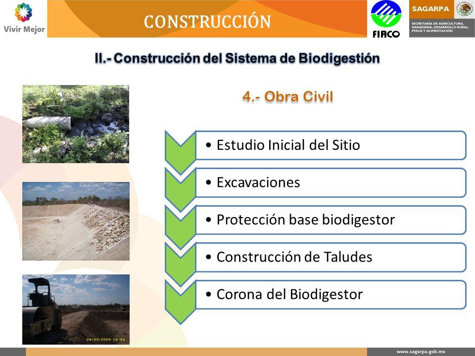 CONSTRUCCIÓN Estudio Inicial del SitioExcavacionesProtección base biodigestorConstrucción de TaludesCorona del Biodigestor 4.- Obra Civil