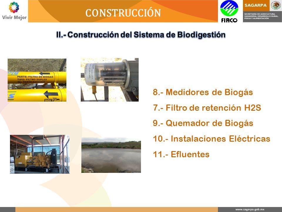 CONSTRUCCIÓN 8.- Medidores de Biogás 7.- Filtro de retención H2S 9.- Quemador de Biogás 10.- Instalaciones Eléctricas 11.- Efluentes