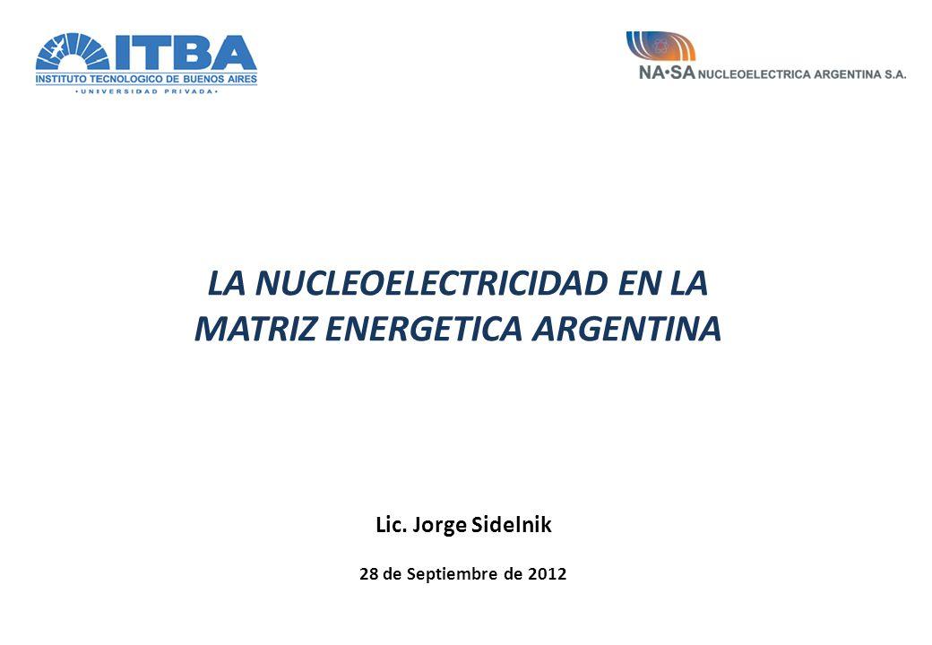 Lic. Jorge Sidelnik 28 de Septiembre de 2012 LA NUCLEOELECTRICIDAD EN LA MATRIZ ENERGETICA ARGENTINA