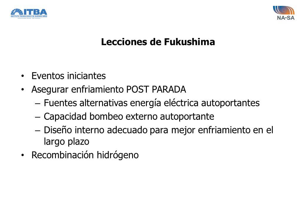 Lecciones de Fukushima Eventos iniciantes Asegurar enfriamiento POST PARADA – Fuentes alternativas energía eléctrica autoportantes – Capacidad bombeo