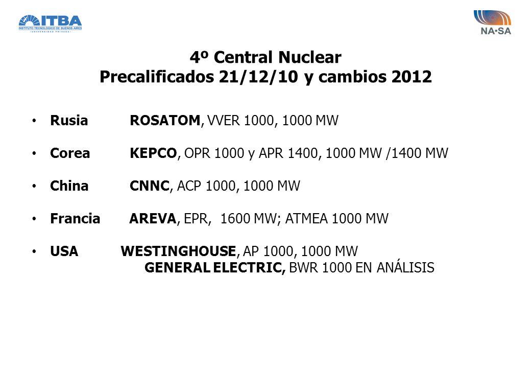 4º Central Nuclear Precalificados 21/12/10 y cambios 2012 RusiaROSATOM, VVER 1000, 1000 MW CoreaKEPCO, OPR 1000 y APR 1400, 1000 MW /1400 MW ChinaCNNC