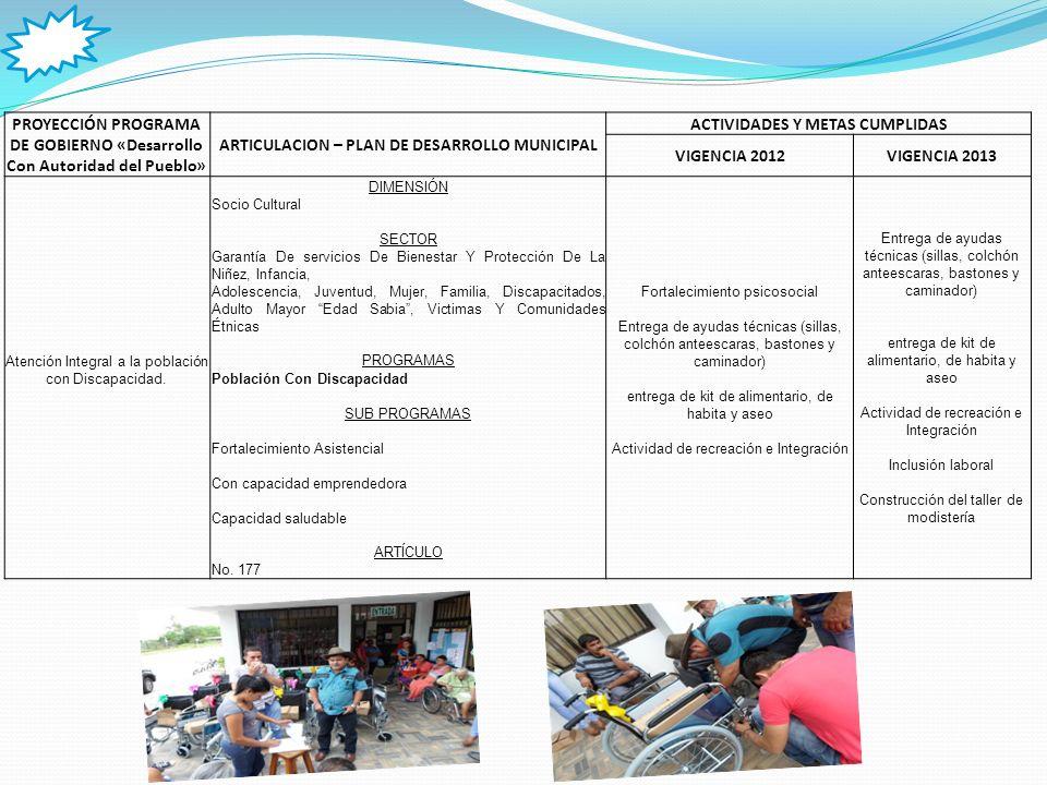 PROYECCIÓN PROGRAMA DE GOBIERNO «Desarrollo Con Autoridad del Pueblo» ARTICULACION – PLAN DE DESARROLLO MUNICIPAL ACTIVIDADES Y METAS CUMPLIDAS VIGENCIA 2012VIGENCIA 2013 Atención Integral a los Adulto Mayores.