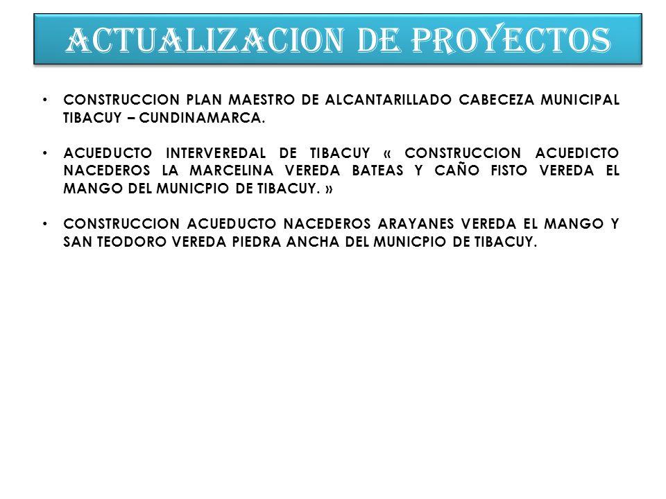 ACTUALIZACION DE PROYECTOS CONSTRUCCION PLAN MAESTRO DE ALCANTARILLADO CABECEZA MUNICIPAL TIBACUY – CUNDINAMARCA. ACUEDUCTO INTERVEREDAL DE TIBACUY «