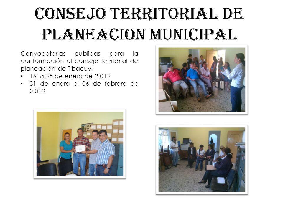 CONSEJO TERRITORIAL DE PLANEACION MUNICIPAL Convocatorias publicas para la conformación el consejo territorial de planeación de Tibacuy. 16 a 25 de en