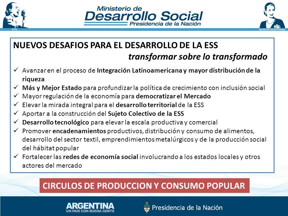 NUEVOS DESAFIOS PARA EL DESARROLLO DE LA ESS transformar sobre lo transformado Avanzar en el proceso de Integración Latinoamericana y mayor distribuci