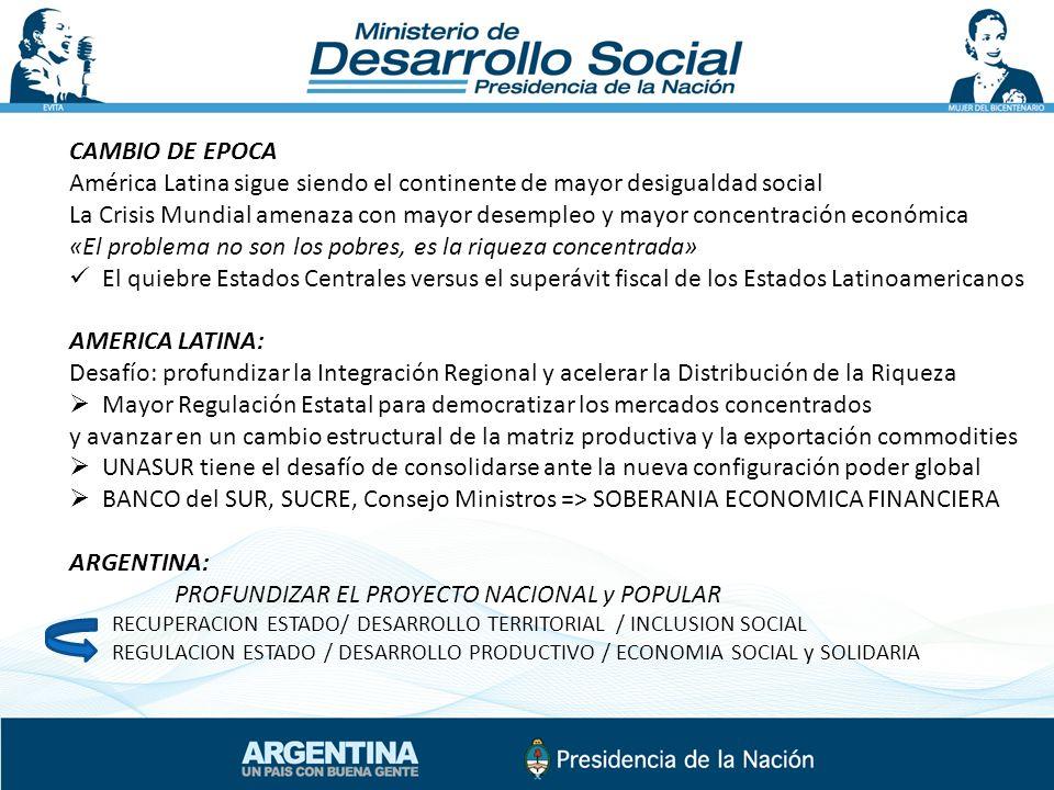 CAMBIO DE EPOCA América Latina sigue siendo el continente de mayor desigualdad social La Crisis Mundial amenaza con mayor desempleo y mayor concentrac