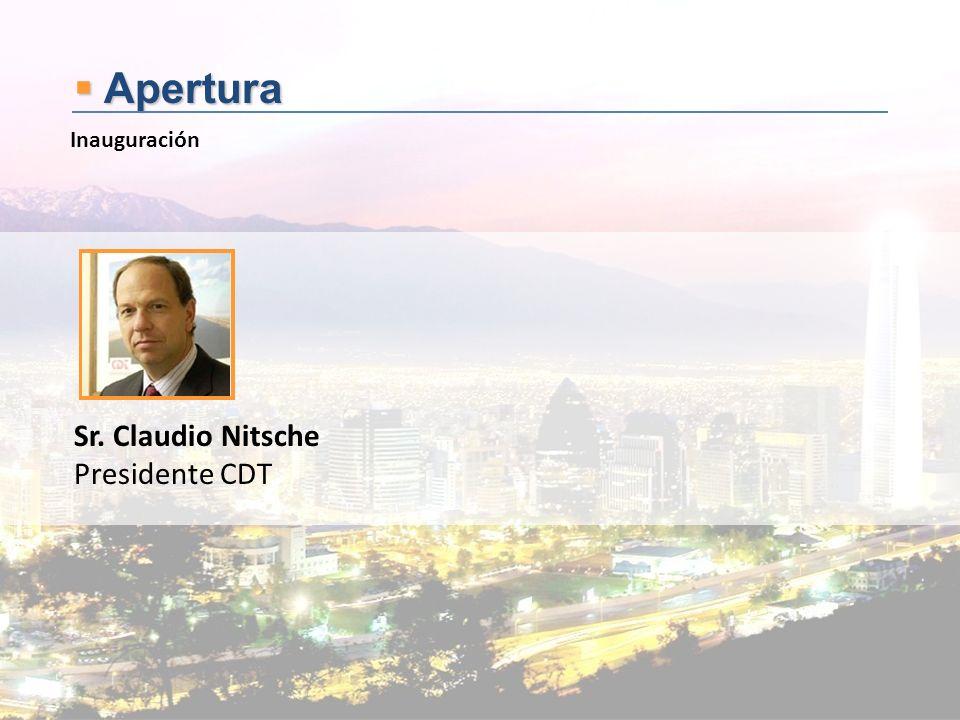 Apertura Apertura Sr. Claudio Nitsche Presidente CDT Inauguración