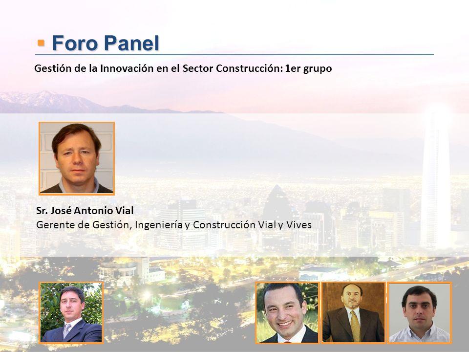 Foro Panel Foro Panel Sr. José Antonio Vial Gerente de Gestión, Ingeniería y Construcción Vial y Vives Gestión de la Innovación en el Sector Construcc