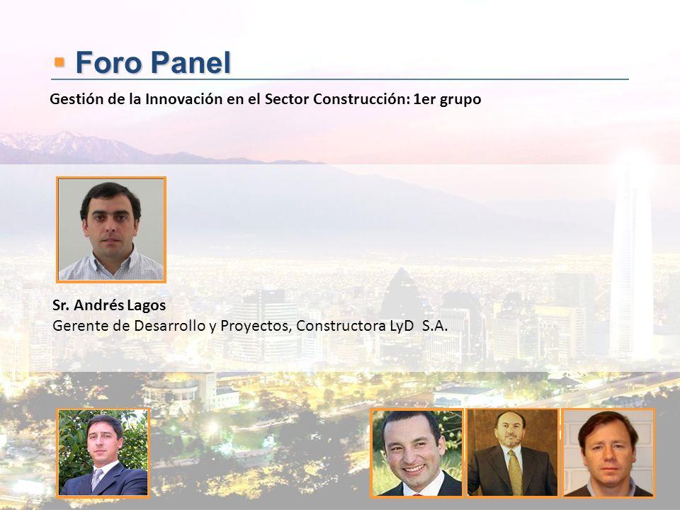 Foro Panel Foro Panel Sr. Andrés Lagos Gerente de Desarrollo y Proyectos, Constructora LyD S.A. Gestión de la Innovación en el Sector Construcción: 1e