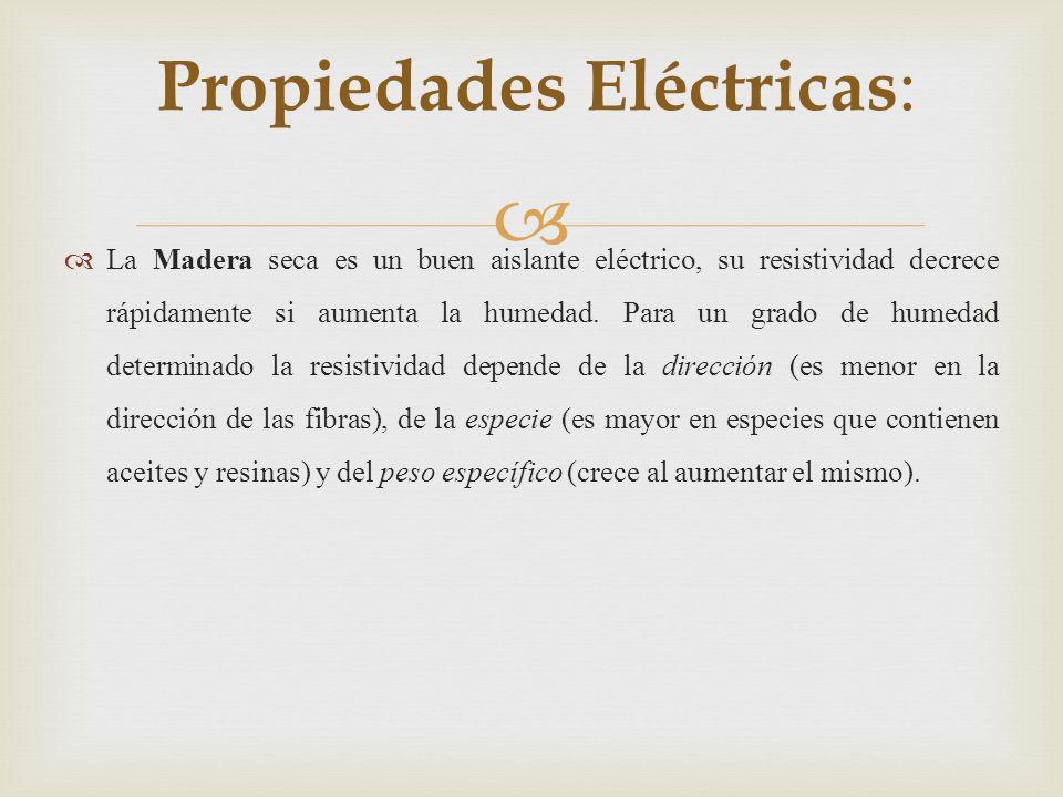 La Madera seca es un buen aislante eléctrico, su resistividad decrece rápidamente si aumenta la humedad.