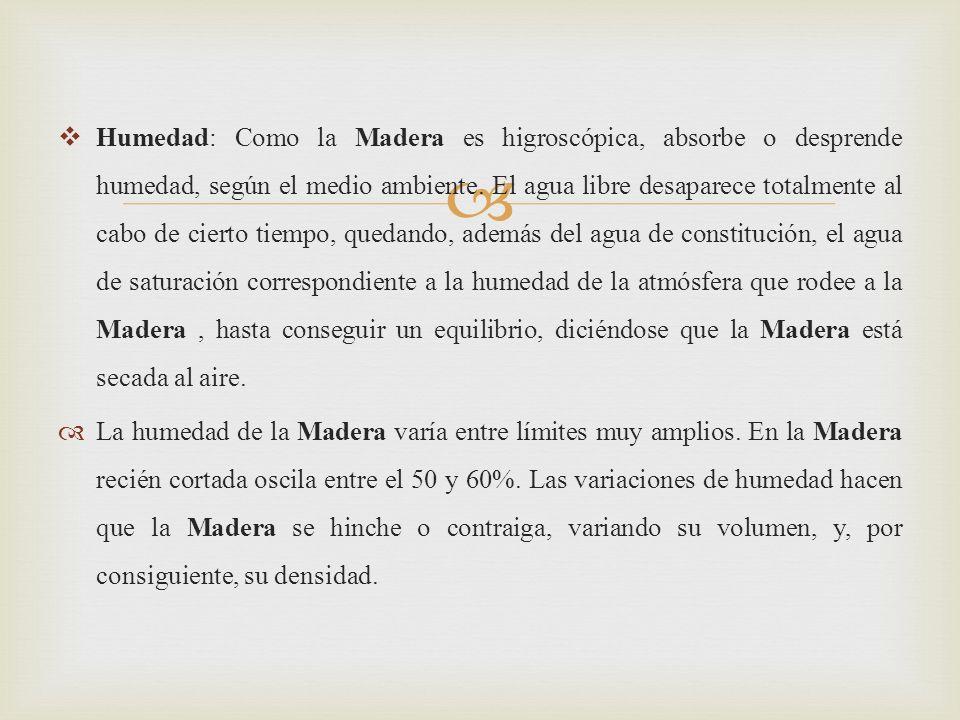 Humedad: Como la Madera es higroscópica, absorbe o desprende humedad, según el medio ambiente.