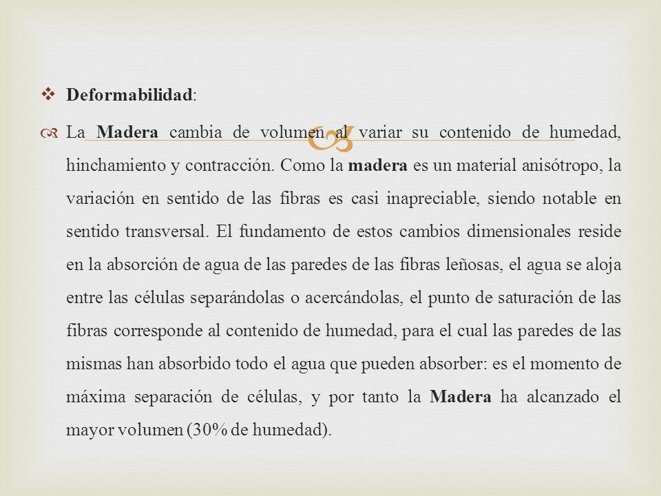 Deformabilidad: La Madera cambia de volumen al variar su contenido de humedad, hinchamiento y contracción.