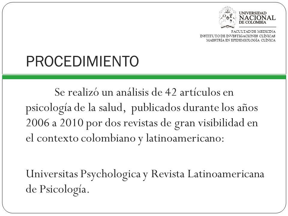 PROCEDIMIENTO Se realizó un análisis de 42 artículos en psicología de la salud, publicados durante los años 2006 a 2010 por dos revistas de gran visibilidad en el contexto colombiano y latinoamericano: Universitas Psychologica y Revista Latinoamericana de Psicología.