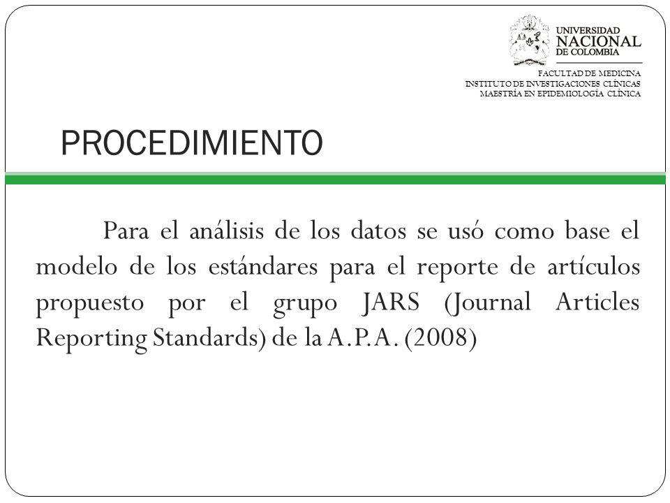 PROCEDIMIENTO Para el análisis de los datos se usó como base el modelo de los estándares para el reporte de artículos propuesto por el grupo JARS (Journal Articles Reporting Standards) de la A.P.A.