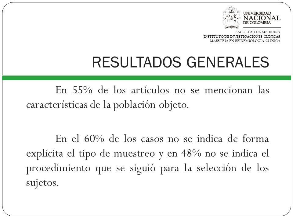 RESULTADOS GENERALES En 55% de los artículos no se mencionan las características de la población objeto.
