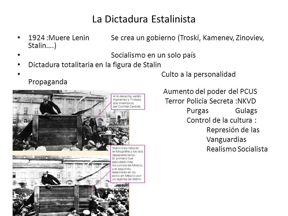 La Dictadura Estalinista 1924 :Muere Lenin Se crea un gobierno (Troskí, Kamenev, Zinoviev, Stalin….) Socialismo en un solo país Dictadura totalitaria