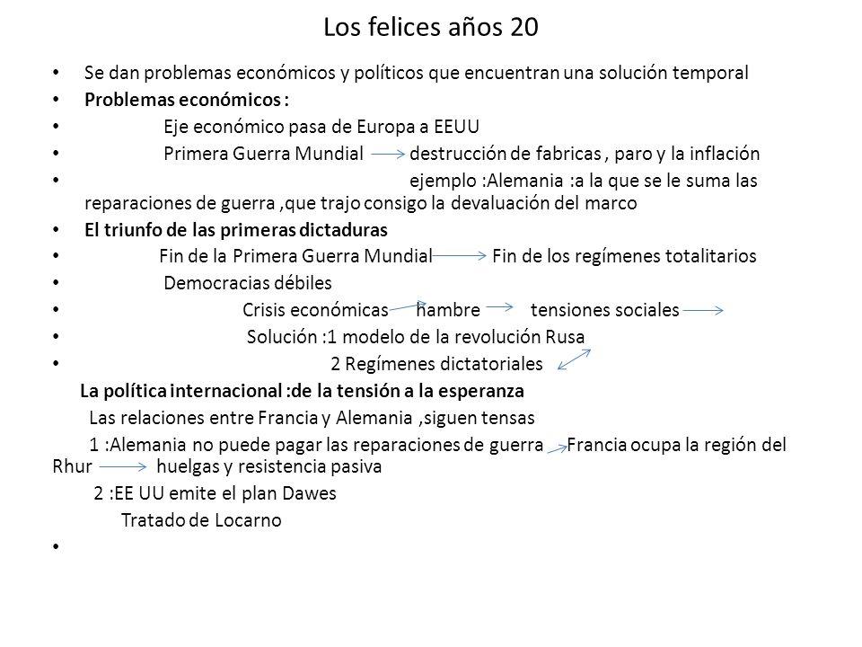 Los felices años 20 Se dan problemas económicos y políticos que encuentran una solución temporal Problemas económicos : Eje económico pasa de Europa a