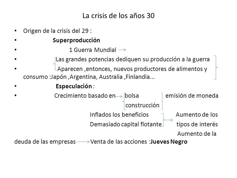 La crisis de los años 30 Origen de la crisis del 29 : Superproducción 1 Guerra Mundial Las grandes potencias dediquen su producción a la guerra Aparec