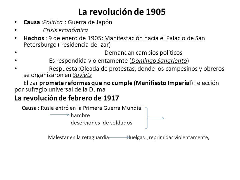 La revolución de 1905 Causa :Política : Guerra de Japón Crisis económica Hechos : 9 de enero de 1905: Manifestación hacia el Palacio de San Petersburg