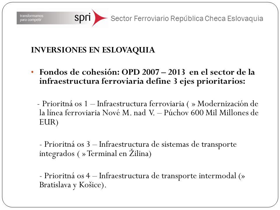 Sector Ferroviario República Checa Eslovaquia INVERSIONES EN ESLOVAQUIA Fondos de cohesión: OPD 2007 – 2013 en el sector de la infraestructura ferrovi