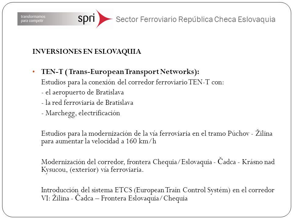 Sector Ferroviario República Checa Eslovaquia INVERSIONES EN ESLOVAQUIA TEN-T ( Trans-European Transport Networks): Estudios para la conexión del corr