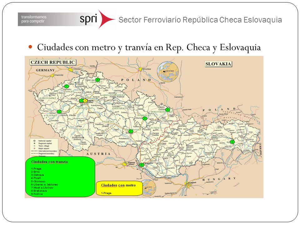 Sector Ferroviario República Checa Eslovaquia Ciudades con metro y tranvía en Rep.