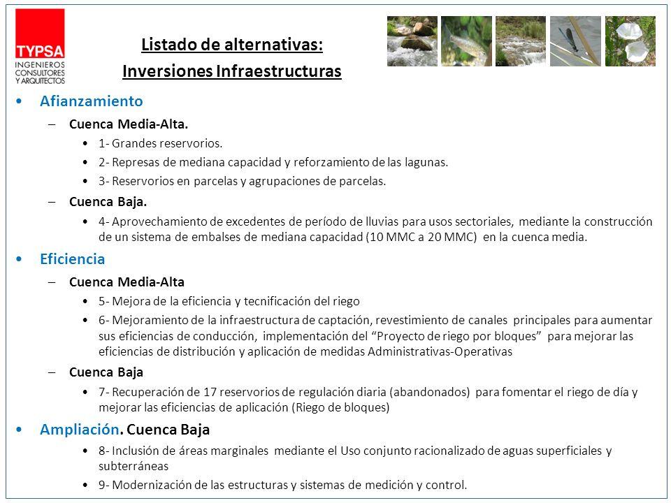 Listado de alternativas: Inversiones Infraestructuras Afianzamiento –Cuenca Media-Alta.