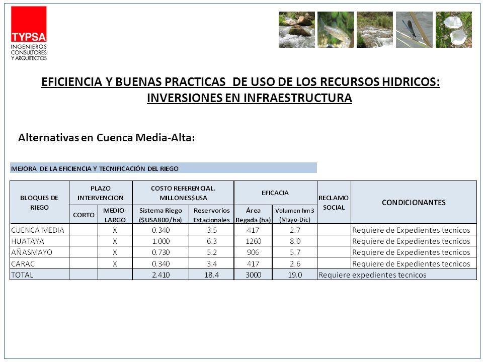 EFICIENCIA Y BUENAS PRACTICAS DE USO DE LOS RECURSOS HIDRICOS: INVERSIONES EN INFRAESTRUCTURA Alternativas en Cuenca Media-Alta: