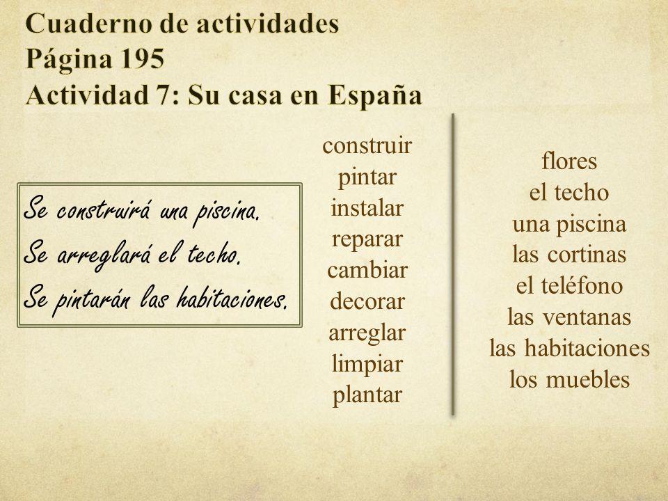 Cuaderno de actividades Página 195 Actividad 6: ¿Cómo? *Repaso de cultura* 1. En España se sirve el café después de la comida. 2. En la Argentina se p