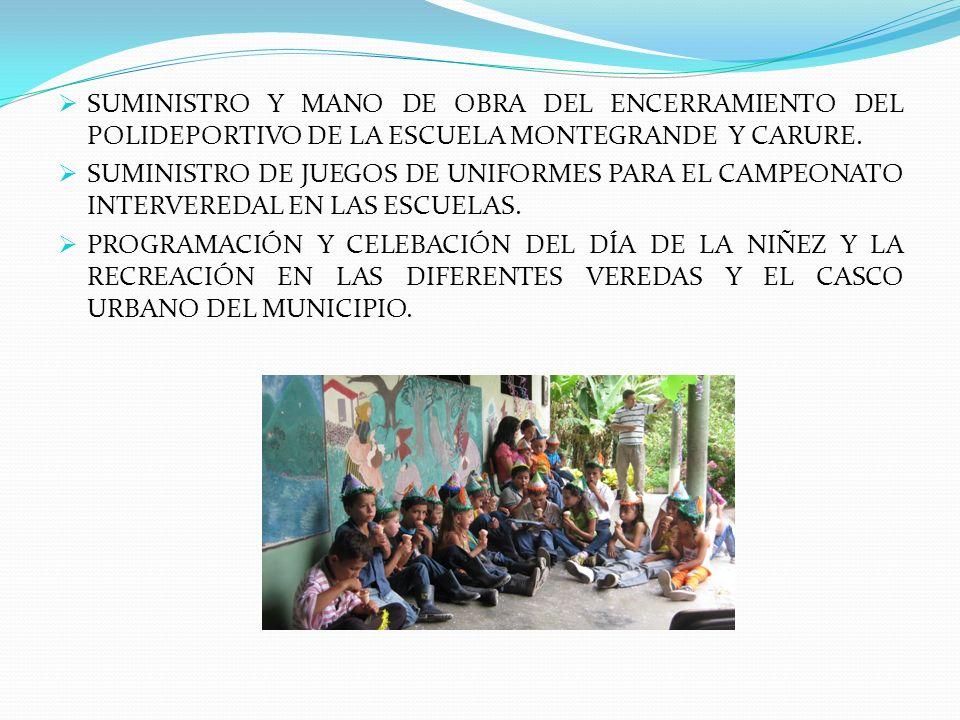 SUMINISTRO Y MANO DE OBRA DEL ENCERRAMIENTO DEL POLIDEPORTIVO DE LA ESCUELA MONTEGRANDE Y CARURE.